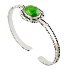 925 silver 10.14cts natural green chrome diopside oval adjustable bangle d47238