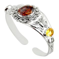 925 silver 20.55cts natural mexican fire agate adjustable bangle jewelry d47212