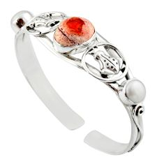 925 silver 14.88cts natural mexican fire opal adjustable bangle jewelry d47208