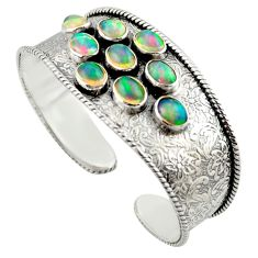 925 silver 19.22cts natural multi color ethiopian opal adjustable bangle d47199