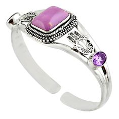 925 silver 13.36cts natural purple phosphosiderite adjustable bangle d47224