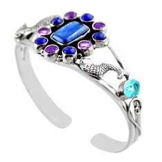 925 sterling silver 21.62cts natural blue kyanite amethyst bangle jewelry r30757