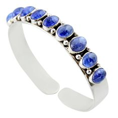 925 sterling silver 18.21cts natural blue tanzanite adjustable bangle d47190