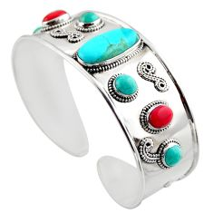 16.02cts blue arizona mohave turquoise 925 silver adjustable bangle r30755