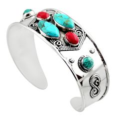 19.52cts blue arizona mohave turquoise 925 silver adjustable bangle r30756