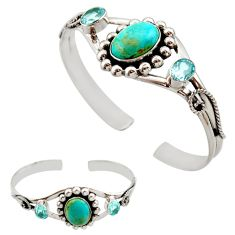 15.11cts blue arizona mohave turquoise topaz 925 silver adjustable bangle r27579