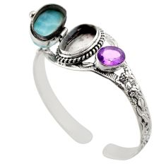 18.23cts natural blue larimar amethyst 925 silver adjustable bangle r30752