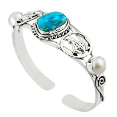 24.87cts natural blue opaline pearl 925 sterling silver adjustable bangle d47222