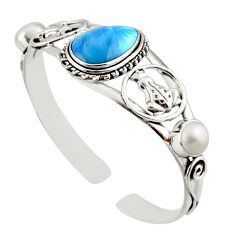 15.46cts natural blue swedish slag pearl 925 silver adjustable bangle d47226