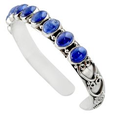 19.70cts natural blue tanzanite 925 sterling silver adjustable bangle d47186