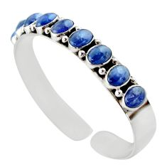 18.56cts natural blue tanzanite 925 sterling silver adjustable bangle d47188