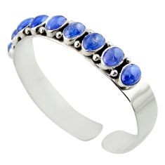 18.43cts natural blue tanzanite 925 sterling silver adjustable bangle d47191