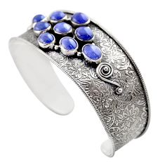 19.24cts natural blue tanzanite 925 sterling silver adjustable bangle r30742
