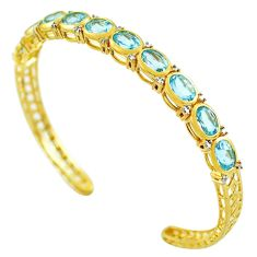 15.41cts natural blue topaz 925 silver 14k gold adjustable bangle c26234