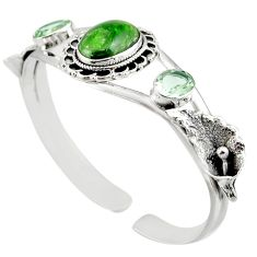 16.98cts natural green chrome diopside 925 silver adjustable bangle d47229
