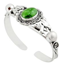 16.98cts natural green chrome diopside pearl 925 silver adjustable bangle d47230