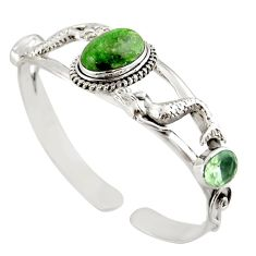 17.42cts natural green chrome diopside silver adjustable bangle jewelry d47232