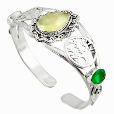 18.66cts natural libyan desert glass 925 silver adjustable bangle jewelry d47198