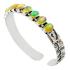 19.23cts natural multi color ethiopian opal 925 silver adjustable bangle d47193