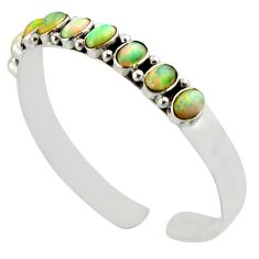 16.61cts natural multi color ethiopian opal 925 silver adjustable bangle d47194