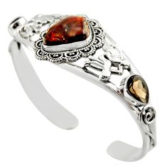 21.46cts natural multi color mexican fire agate silver adjustable bangle d47211