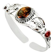18.57cts natural multi color mexican fire agate silver adjustable bangle d47215
