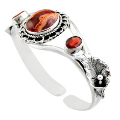 18.92cts natural multi color mexican fire opal silver adjustable bangle d47201