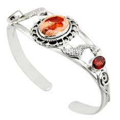 16.55cts natural multi color mexican fire opal silver adjustable bangle d47202