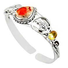 16.02cts natural multi color mexican fire opal silver adjustable bangle d47203