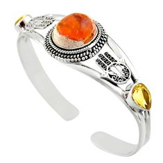19.91cts natural multi color mexican fire opal silver adjustable bangle d47204