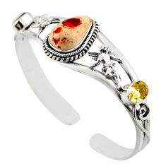 14.58cts natural multi color mexican fire opal silver adjustable bangle d47205