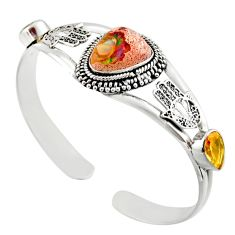16.02cts natural multi color mexican fire opal silver adjustable bangle d47206