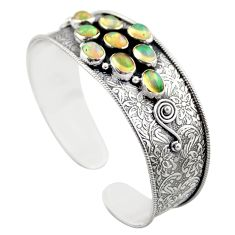 15.58cts natural multicolor ethiopian opal 925 silver adjustable bangle r30744