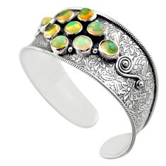 15.04cts natural multicolor ethiopian opal 925 silver adjustable bangle r30747