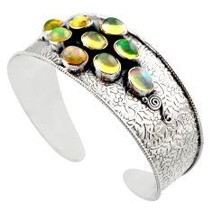 18.78cts natural multicolor ethiopian opal 925 silver adjustable bangle r30754