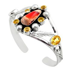 23.83cts natural orange mexican fire opal 925 silver adjustable bangle r30746