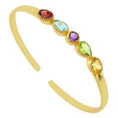 7.18cts natural purple amethyst 14k gold handmade adjustable bangle t8335