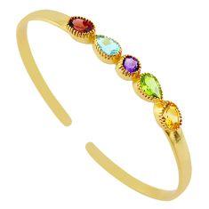 6.92cts natural purple amethyst 14k gold handmade adjustable bangle t8339