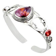 21.63cts natural purple cacoxenite super seven silver adjustable bangle d47214