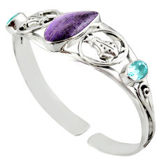 19.33cts natural purple opal topaz 925 sterling silver adjustable bangle d47197