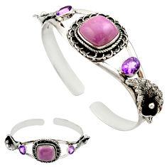 21.50cts natural purple phosphosiderite 925 silver adjustable bangle r27534