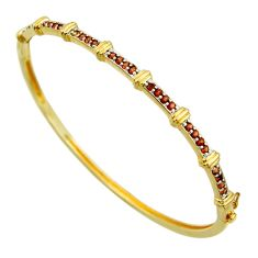 5.08cts natural red garnet round 925 sterling silver bangle jewelry c26230