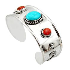 18.67cts natural sleeping beauty turquoise 925 silver adjustable bangle r45214