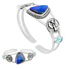 14.18cts natural blue doublet opal australian silver adjustable bangle p82626