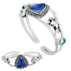 14.48cts natural blue doublet opal australian silver adjustable bangle p82628