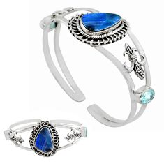 14.18cts natural blue doublet opal australian silver adjustable bangle p82629