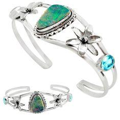13.32cts natural blue doublet opal australian silver adjustable bangle p89004