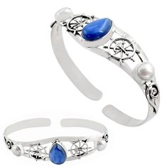 11.75cts natural blue kyanite pearl 925 sterling silver adjustable bangle p82615