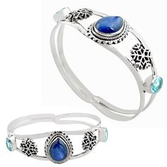 12.93cts natural blue kyanite topaz 925 sterling silver adjustable bangle p82616
