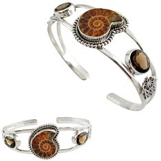 Natural brown ammonite fossil 925 silver hand of hamsa adjustable bangle h89239
